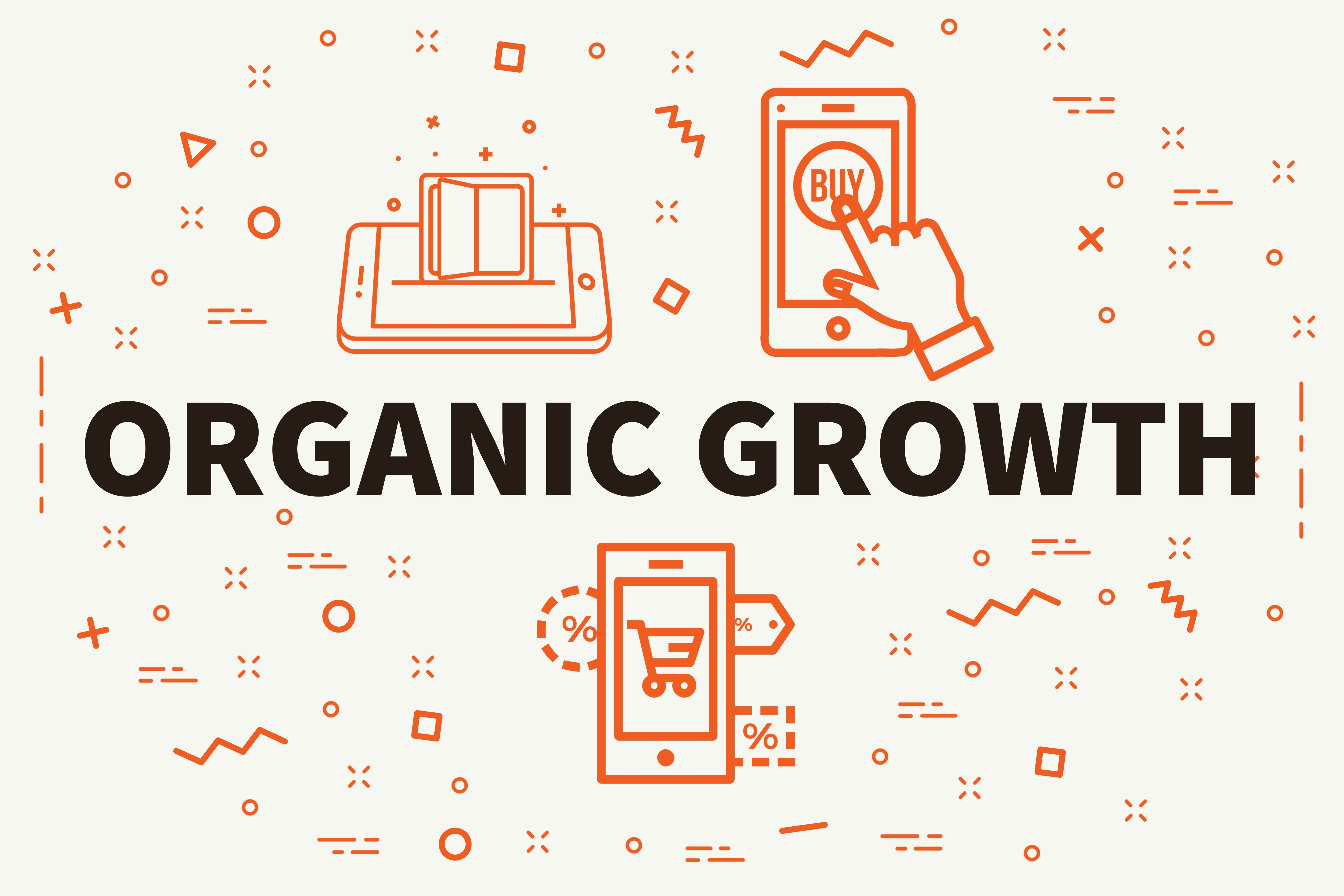 organic growth SEO Conceptual business illustration with the words organic growth